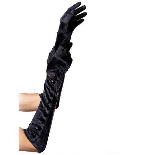 Dlouhé černé saténové rukavice s knoflíčky Leg Avenue