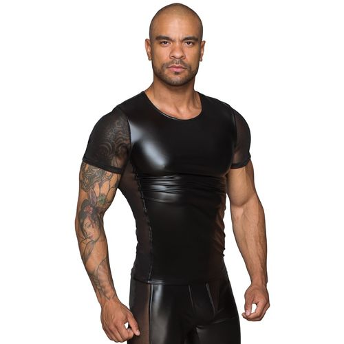 Lesklé černépánské triko s průsvitnými rukávy a boky - NOIR