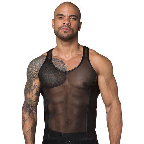 Síťované černé tílko pro muže s lesklými vsadkami - NOIR