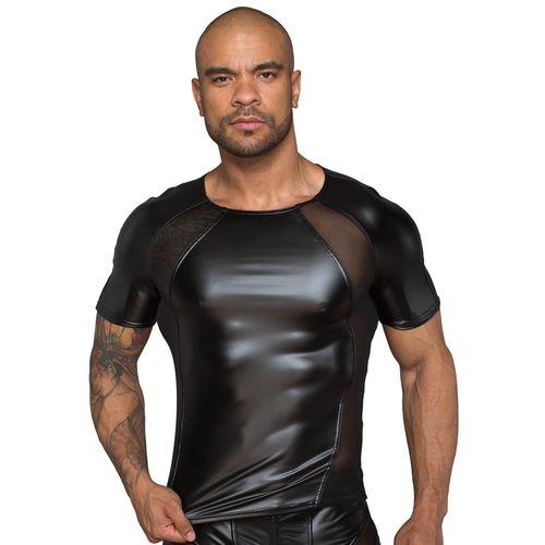 Lesklé černé pánské triko s průsvitnými vsadkami - NOIR