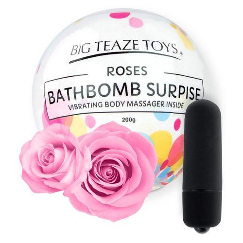 Bomba do koupele s vibrační patronou Surprise - růže