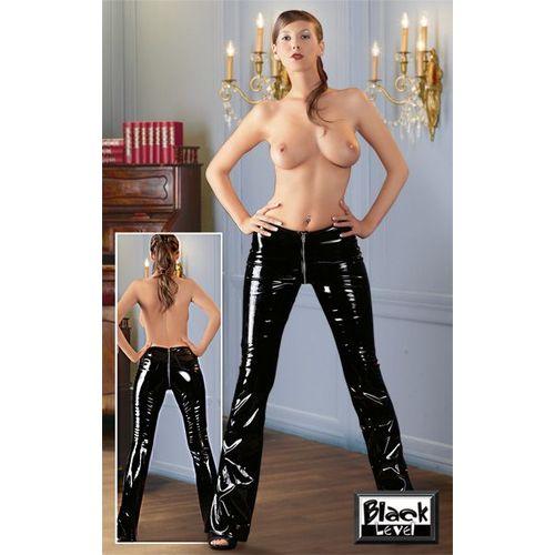 Lakované černé kalhoty se dvěma zipy