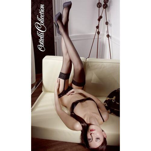 Černé punčochy na podvazky Cottelli Collection